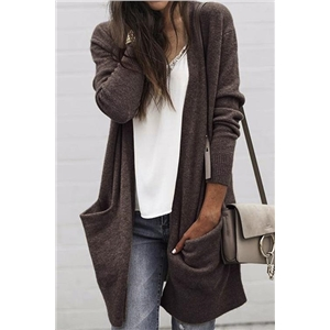 Long Sleeves Solid Long Coat