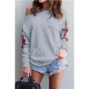 Watching Me Fall One Shoulder Roses Shirt