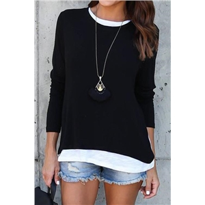 Saturday Night Solid Long Sleeves Casual T-shirt