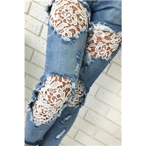 Lace Splicing Ripped Jeans