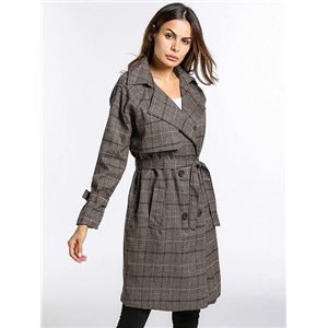 Gray Plaid Lapel Buckle Waist Wool Blend Longline Coat