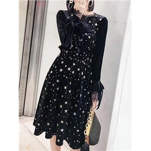 Black Velvet Star Print Lace Panel Long Sleeve Dress