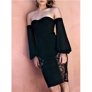 Black Off Shoulder Lace Panel Long Sleeve Dress