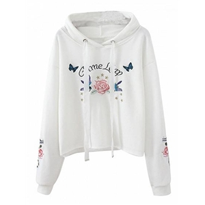 White Drawstring Embroidery Detail Long Sleeve Hoodie