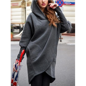 Dark Gray Asymmetric Hem Long Sleeve Hooded Coat