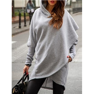 Light Gray Asymmetric Hem Long Sleeve Hooded Coat