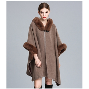 Fashion Cape Poncho Women Fake Fur Hooded Cloak Shawl Casual Cloak Long Women Sweater Cardigan