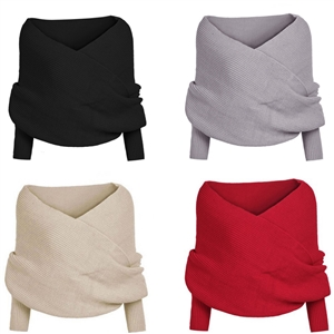 Off Shoulder V-Neck Wrap Detail Long Sleeve Knit Sweater