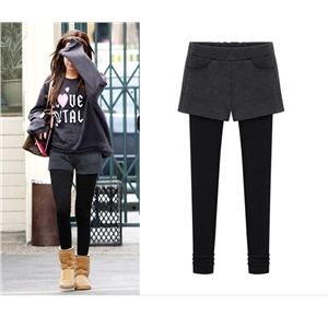 New Arrival Woman Winter Wear Leggings False Two Pants Short Palazzo Large Size Plus Velvet Thickening Thin Pants