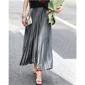 Fashion Long Skirt Summer Autumn Casual Smooth Women Skirt High Waist Elastic Pleated Skirt