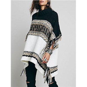 Black Tassel Knit Poncho