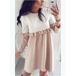 Khaki Contrast Ruffle Detail Long Sleeve Mini Dress