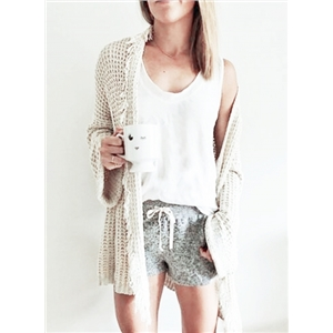 Solid Color Long Sleeve Open Front Fringe Sweater with Pockets