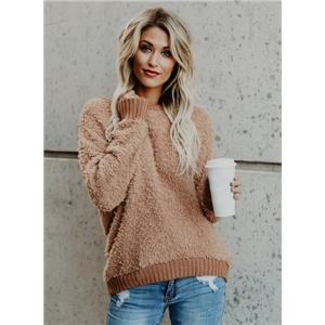 Solid Color Rib Long Sleeve Pullover Sweater