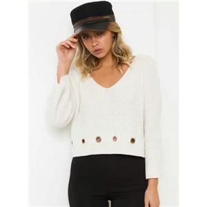 V Neck Long Sleeve Hollow out Pullover Sweater