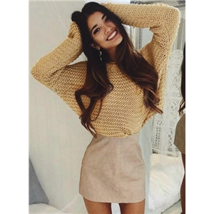 Round Neck Long Sleeve Loose Solid Color Sweater