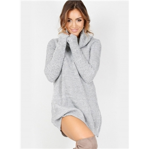 High Neck Long Sleeve Solid Color Dress Sweater
