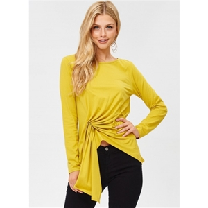 Round Neck Long Sleeve Solid Color Asymmetric Design Tee Shirt
