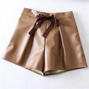 PU Leather Solid Color Drawstring Shorts