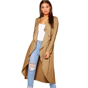 Long Sleeve Solid Color Open Front Trench Coat