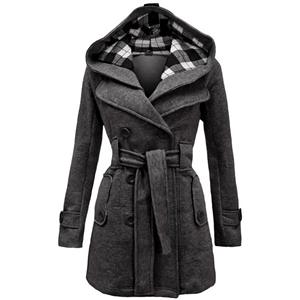 Fashion Plaid Double Breasted Hooded Coat with Belt