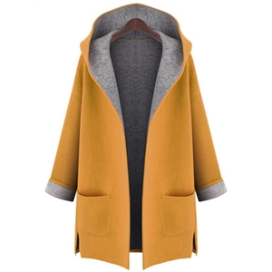 Long Sleeve Open front Slit Hooded Coat