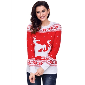 Round Neck Red White Reindeer In The Snow Christmas Swaeter