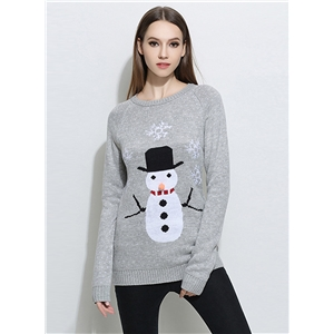 Fashion Christmas Snowman Knit Pullover Sweater