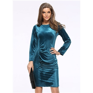 Solid Color Long Sleeve Round Neck Velvet Bodycon Dress