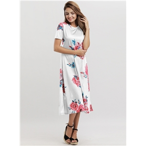 Casual Short Sleeve Floral Loose Fit Midi Dress