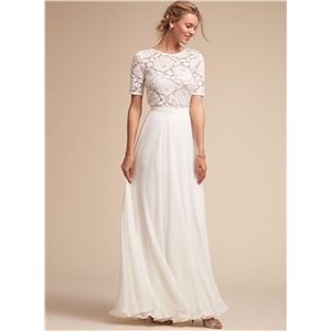 Round Neck Short Sleeve Lace Panel Long Prom Dress