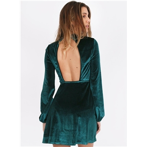 Fashion Long Sleeve Backless Velvet Mini Dress