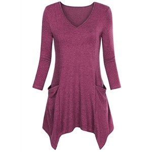V Neck Long Sleeve Solid Color Pullover Asymmetric Design Tee Shirt