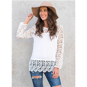Round Neck Long Sleeve Lace Splicing Solid Color Tee Shirt