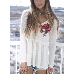 Loose Fit V Neck Long Sleeve Floral Embroidery Tee Shirt
