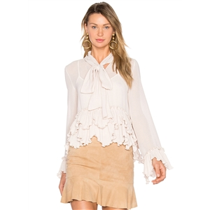 Fashion Tie Collar Ruffle Solid Blouse
