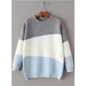 Round Neck Color Splicing Sweaters