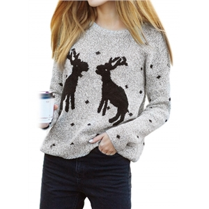 Loose Fit Round Neck Christmas Reindeer Sweater