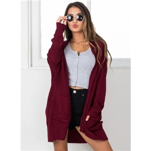 Solid Color Long Sleeve Open Front Knit Cardigan with Pockets
