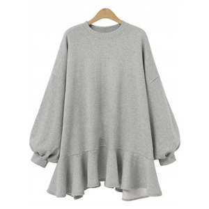 Casual Long Sleeve Loose Fit Ruffle Sweatshirt Dress