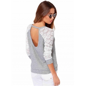 Long Sleeve Lace Panel Backless Pullover Sweatshirt
