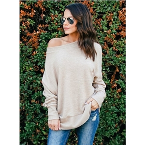 Solid Color Off Shoulder Batwing Sleeve Pullover Knitwear