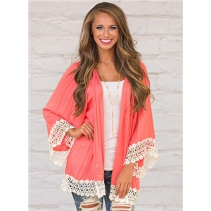 Long Sleeve Lace Panel Color Block Open Front Cardigan