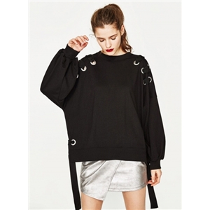 Casual Lace-up Loose Pullover Sweatshirt