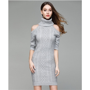 Turtleneck Open Shoulder Knitted Sweater Dress