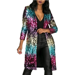 Long Sleeve Color Block Sequins Decoration Coat