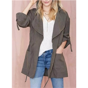 Hooded Long Sleeve Solid Color Collect Waist Coat