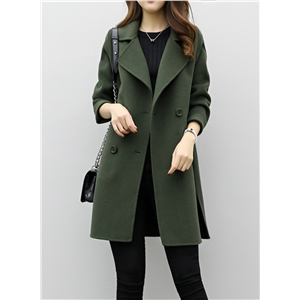 Fashion Solid Long Sleeve Double Breasted Coat