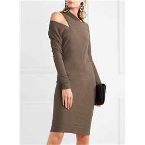 Off Shoulder Solid Color Bodycon Dress