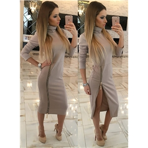 High Neck Long Sleeve Solid Color Oblique Zipper Day Dress
